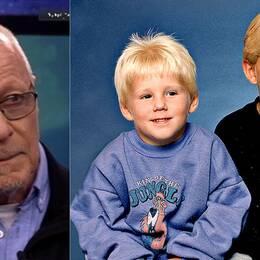 Till vänster en bild på Sven-Erik Alhem, Brottsofferjourens förbundsordförande, och till höger en bild på de två tidigare anklagade bröderna som barn.