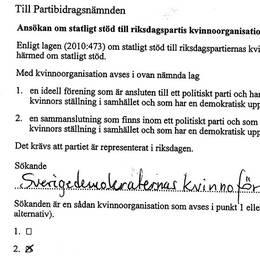 Ansökan som SD skickade in för att få bidrag till kvinnoförbundet.
