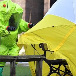 Två personer i skyddsutrustning undersöker bänken i Salisbury