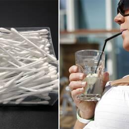 Plastgafflar i varierande färger, bomullstops i plastlåda, kvinna som dricker ur ett sugrör.