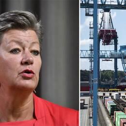 Arbetsmarknadsminister Ylva Johansson och hamnen i Göteborg.