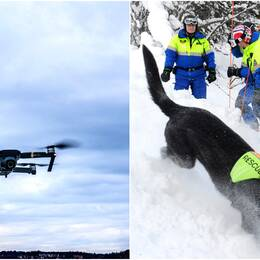 En bild på en drönare i luften samt en bild på fjällräddare som står i snön. Arkiv.