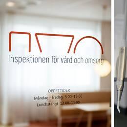 En skylt vid Inspektionen för vård och omsorgs kontor samt en bild på en behandskad hand som håller i tandläkarutrustning.
