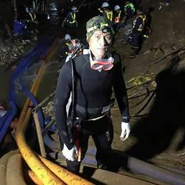 Sista bilden på Saman Kunan, dykaren som dog i samband med räddningsaktionen av det thailändska pojklaget. Kunan hyllas nu som en hjälte.