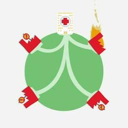 En bild på fabriker där läkemedel tillverkas, med kanaler till ett sjukhus. En av fabrikerna brinner, de andra har varsin skylt med ett överkryssat piller på.
