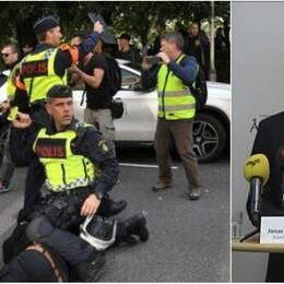 Nordiska motståndsrörelsen (NMR) hejdas av polis vid Fokushuset på Fabriksgatan under demonstration i Göteborg (20170930)