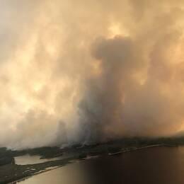 flygbild, en stor vägg av rök stiger från marken vid sjö