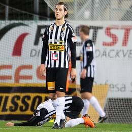 Landskronaspelare deppar efter matchen mot Eskilstuna den 26 oktober.