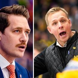 Från vänster: Färjestads tränare Johan Pennerborn, Växjös Sam Hallam och Skellefteås Bert Robertsson