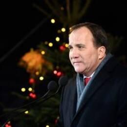 Statsminister Stefan Löfven med julgran i bakgrunden.