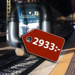 Ett tåg och ett flygplan, med grafiska prislappar på dem som visar vad resorna kostade. 2933 kronor för tåget och 1756 kronor för flyget.