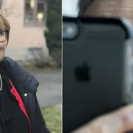 Till vänster forskaren Louise Olsson. Till höger en person som visar upp sitt öga vid ett digitalt vårdbesök.