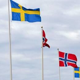 Norska och svenska flaggor.