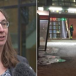Till vänster åklagaren Louise Helleday, till höger en bild på stationen i Hallsberg.