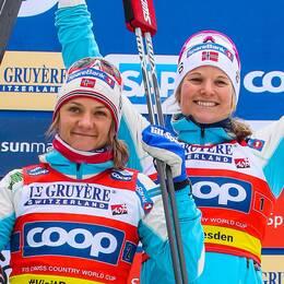 Norskorna Maiken Caspersen Falla och Mari Eide.