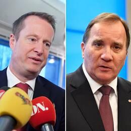 Anders Ygeman, gruppledare för S, Stefan Löfven, partiledare för S och Eva Nordmark, ordförande för TCO.
