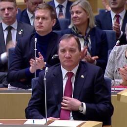 Stefan Löfven i riksdagen.