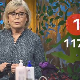 Gunilla Hasselgren bakom ett bord med flaskor, skor, strumpor och blodtrycksmätare.