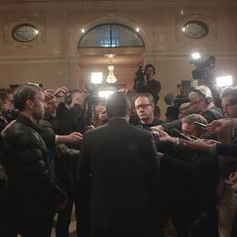 Stefan Löfven möter pressen.