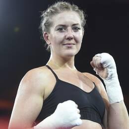 Klara Svensson efter sin förra match, i mars förra året.