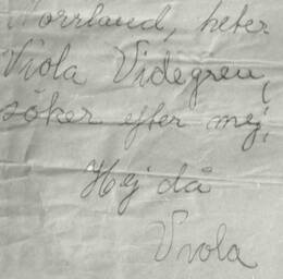 Ett av breven som undertecknats av Viola.