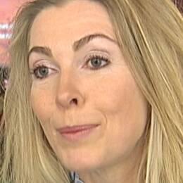 Bild på isigt skidspår och porträttbild på Karin Mattson, ordförande i Svenska Skidförbundet