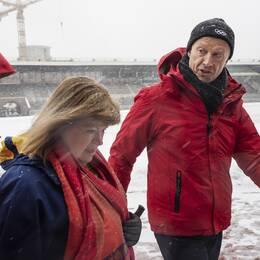 IOK-chefen Christophe Dubi, SOK:s generalsekreterare Gunilla Lindberg och Octavian Morariu, chef för IOK:s utvärderingskommission