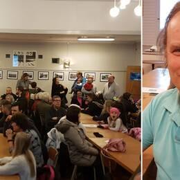 Människor i Lunde folkets hus och bild på Olof Mewes