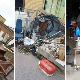 Bilder från en av Blekingeföretagarens anläggningar, där mängder av avfall ligger dumpat.