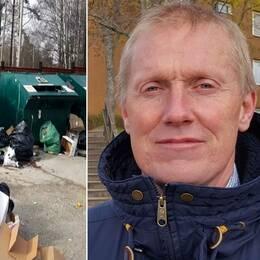 En bild av illegalt avfall på en återvinningsstation och Thomas Thernström, avfallsstrateg på Södertälje kommun.