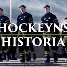 De svenska ishockeyspelarna tågar in på Isstadion i Sankt Moritz under öppningsceremonien vid de olympiska vinterspelen 1948.