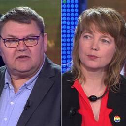 Debatt i Agorastudion i Bryssel med toppkandidaterna Karin Karlsbro (L), Peter Lundgren (SD) och Malin Björk (V).