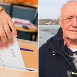 Kollage: Till vänster en bild på en hand och en röstsedel. Till höger porträttbild på Mats Hallgren.
