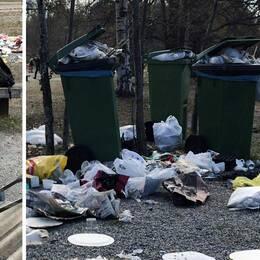En besökare på Björnön sitter vid en grillplats. Runt om på marken ligger soporna tätt.