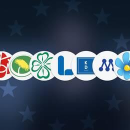 Loggorna tillhörande de nio svenska partierna i EU-parlamentet, mot bakgrund av en EU-flagga.