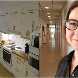 Ett kök som är öppet ut mot vardagsrummet. En porträttbild på Lena Rosenberg som har svarta glasögon och står i en korridor.