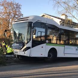 Buss som kolliderat med träd