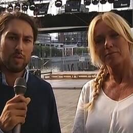 Leo Razzak och Anne Lundberg, programledare i jobbdebatten.