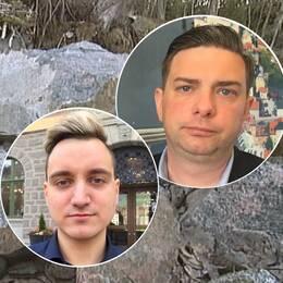 En bild på stenblock i Hugelstaskogen samt porträtt på de båda politikerna.