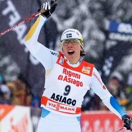 Tour de Ski, dam: Charlotte Kalla, Sverige, vinner sprinten i Asiago.