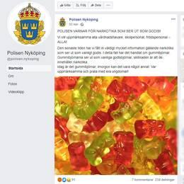 En skärmdump från Facebook. Polisens vapensköld syns, liksom en bild på en hög med gummibjörnar.