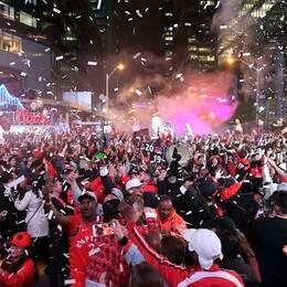 Det firades rejält i Toronto efter den historiska titeln