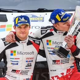 Ott Tänak och Martin Järveoja, bilden är från segern i Svenska rallyt