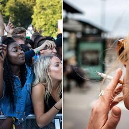 Festivalbesökare ser hiphopgruppen Migos uppträda på Way out west 2017.