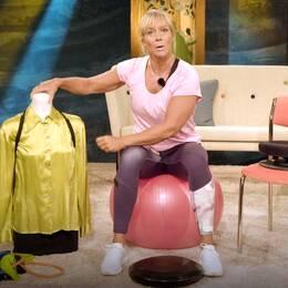 Personliga tränaren Sofia Åhman visar produkter som hjälper dig att få bättre hållning.