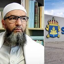 """porträtt på imamen, samt skylt """"Säkerhetspolisen"""" på en mur"""
