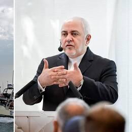 Det brittiskflaggade oljefartyget Stena Impero är beslagtaget av Iran (arkivbild). Irans utrikesminister Javad Zarif föreläste på fredsinstitutet Sipri i Stockholm på onsdagen.