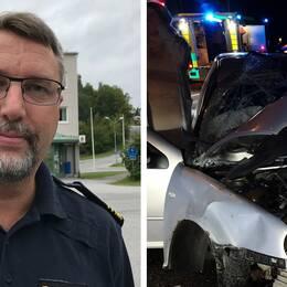 Förundersökningslredare Erik Bylund och bilder på bilvraket från olyckskvällen.