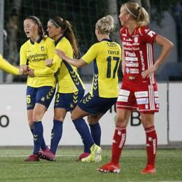 Bröndby tar ledningen genom Nicoline Sörensen (16) 0-1 under onsdagens fotbollsmatch i Champions League första omgången första matchen mellan Piteå IF DFF och Bröndby på LF Arena