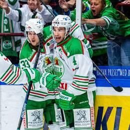 Rögle jublar efter 2-1 mot Malmö Redhawks.
